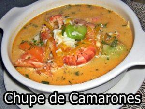 receta de chupe de camarones