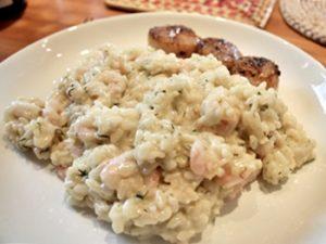 receta de risotto de camarones